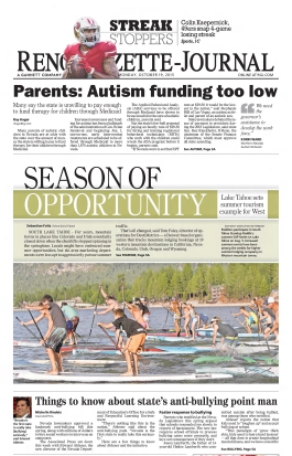 Reno Gazette Journal front page