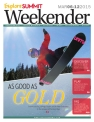 [Photo/Sebastian Foltz] Explore Summit Weekender cover featuring Olympic snowboarder Arielle Gold.
