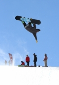 Photo/Sebastian Foltz X Games snowboarder Taylor Gold airs out of the halfpipe at Breckenridge Resort during U.S. Snowboarding team training.