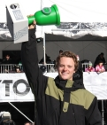 Photo/Sebastian Foltz X Games and Olympic snowboarder Taylor Gold celebrates his first Dew Tour win in Breckenridge Colorado.