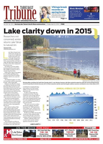 Tahoe Daily Tribune Lake cover